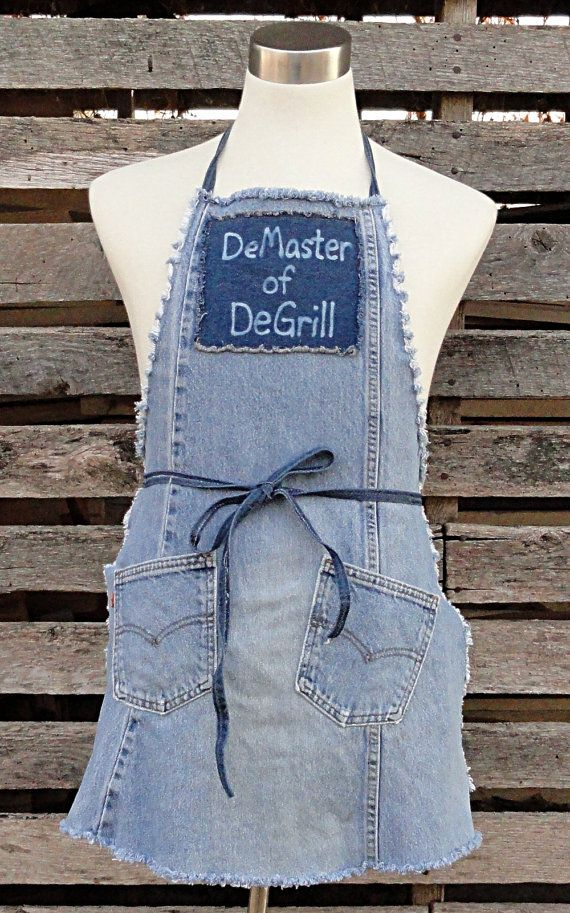 DeMaster of De Grill Apron Upcycled Blue Jeans от DenimDiva2day