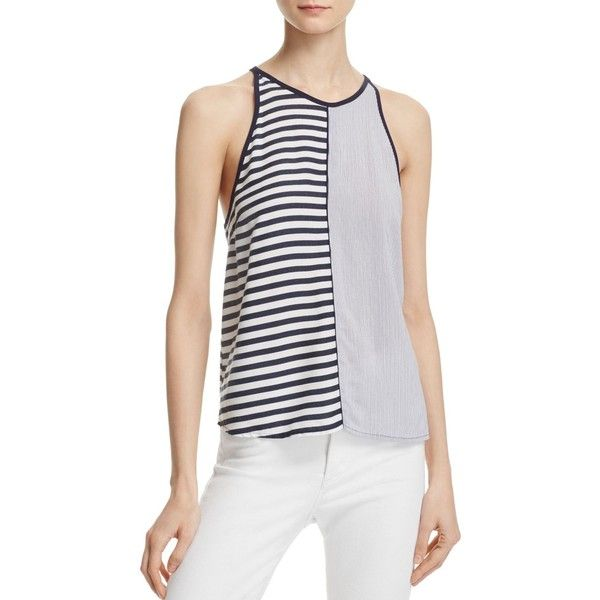 Splendid Mixed Stripe Tank (335 PEN) ❤ liked on Polyvore featuring tops, navy, striped tank top, navy striped tank, navy tank, splendid tank top and stripe top
