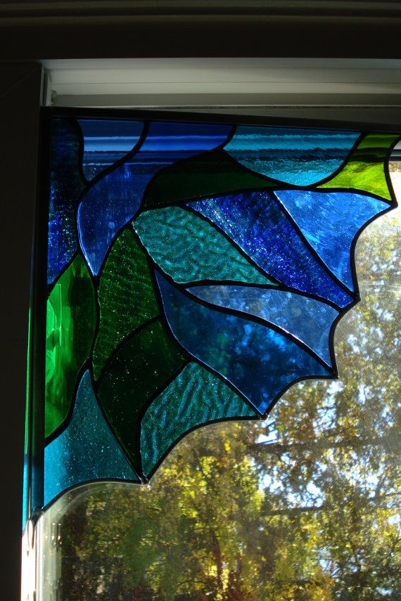 Stained Glass Corner Fans with Blue and Green and Teal Abstract Design