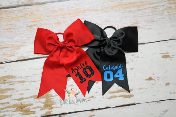 This listing is for: Sports Bow with Attached Pony with Name and Number - Choose Your Colors | Personalized Hair Bow | Heat Transfer Vinyl | Sports | 014  Product Information: Bow with Attached Pony with Name and Number. Choose your colors for school or just your favorite! Pony-O Bow is made of 3 wide grosgrain ribbon that is secured to a comfortable elastic ponytail holder. Dimensions: Length: 8 1/2 x Width: 7  In Notes to Seller please list FIRST NAME and TEAM NUMBER. If you wish to ha...