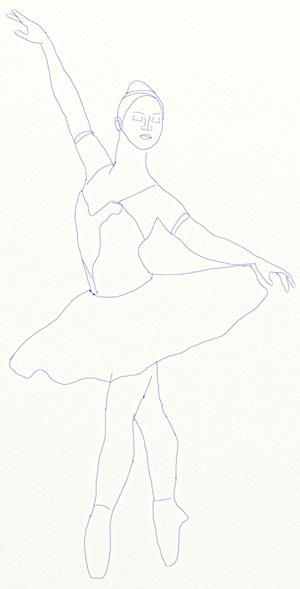 Нарисовать костюм балерины