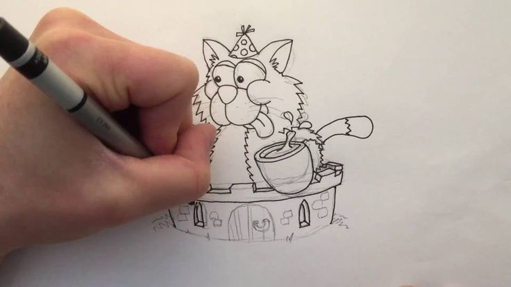 Watch me draw a Cat enjoying Cake and Coffee in a Castle, words that start with the letter C. Then download the free printable colouring page below and color it in yourself!