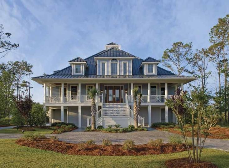 Plantation house plan with 3285 square feet and 3 bedrooms for Low country house plans
