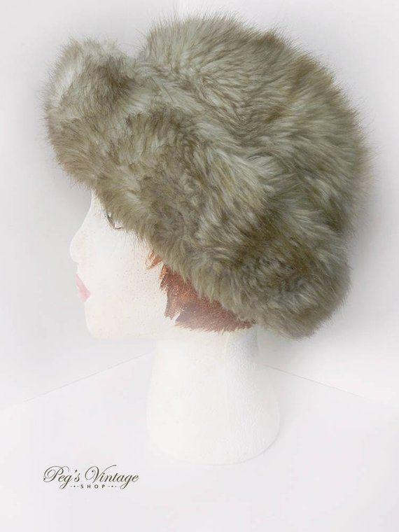 8315bcdb84e Vintage Beige Brown Faux Fur Hat
