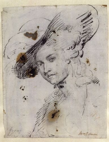 © National Portrait Gallery, London  Buy a print of this image  License this image  Mary Robinson  by or after Sir Joshua Reynolds  pen and brown ink over pencil, circa 1782  10 in. x 8 in. (254 mm x 203 mm)  Purchased, 1979  NPG 5264