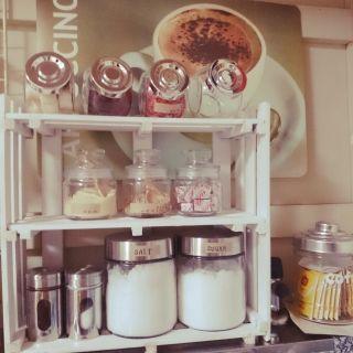 yuria's room photo about Kitchen,ダイソー,100均,DIY,手作り,セリア,キャンドゥ,ガラス瓶,ダイキ, - RoomClip