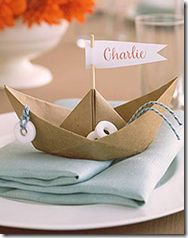 origami boat they could be cute cup cake toppers