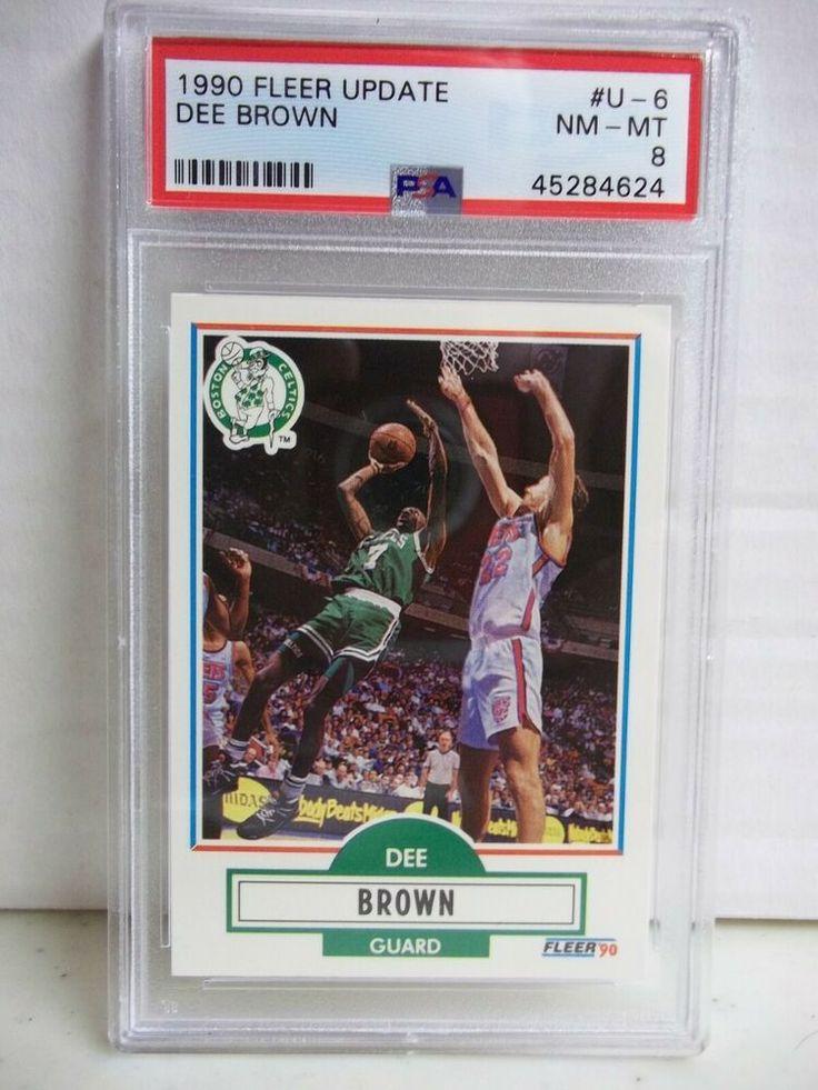 1990 fleer dee brown rc psa nmmt 8 basketball card u6