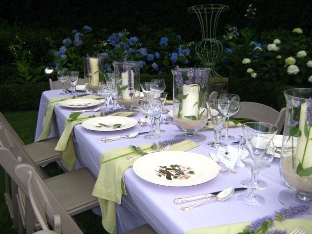 Sommer Garten Servietten grün Lavendel Tischdecke