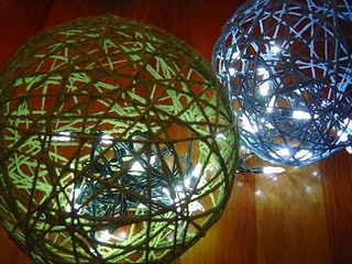String balloon balls with mini lights inside