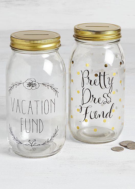 Start saving in style! Venus mason jar coin bank.