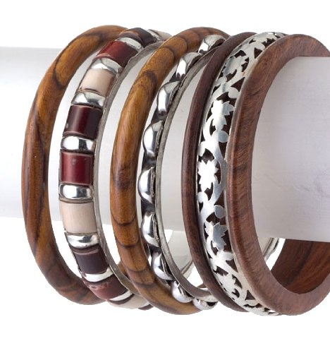Set of 5 Wooden Bangles with- Mix and Match