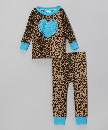 Take a look at this Brown Leopard Heart Pajama Set - Infant, Toddler  Girls by Cat  Cow on #zulily today!