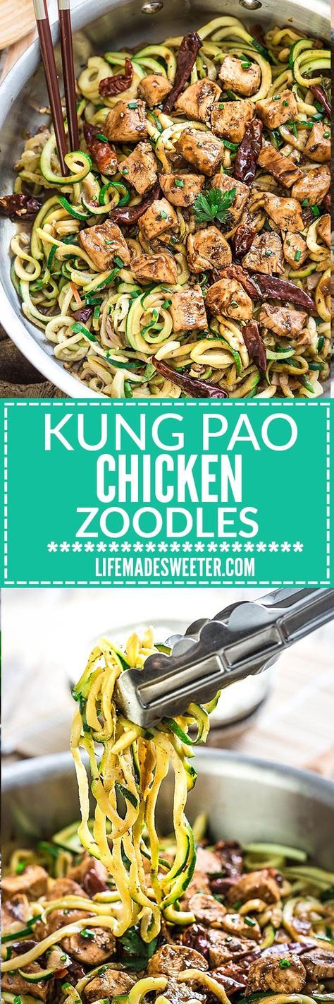 One Pan Kung Pao Chicken Zoodles {Zucchini Noodles} make the perfect easy low carb weeknight meal! Best of all so much better than takeout - only 30 minutes to make with just one pan / pot / skillet t (Chicken Meals Easy)