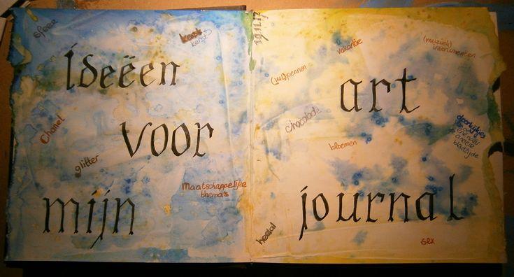 Zoveel ideeën: Waterverf met inkt #artjournal #journaling #artideas #artjournals #artjournalpage #calligraphy