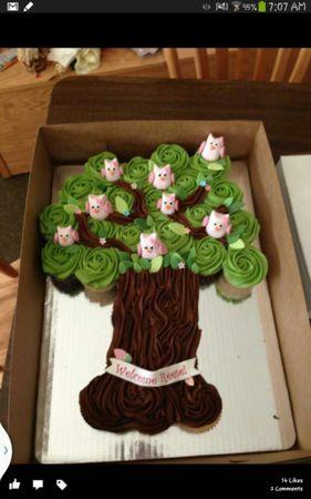 Owl tree baby shower (cupcake) cake (from Babycenter birth board)