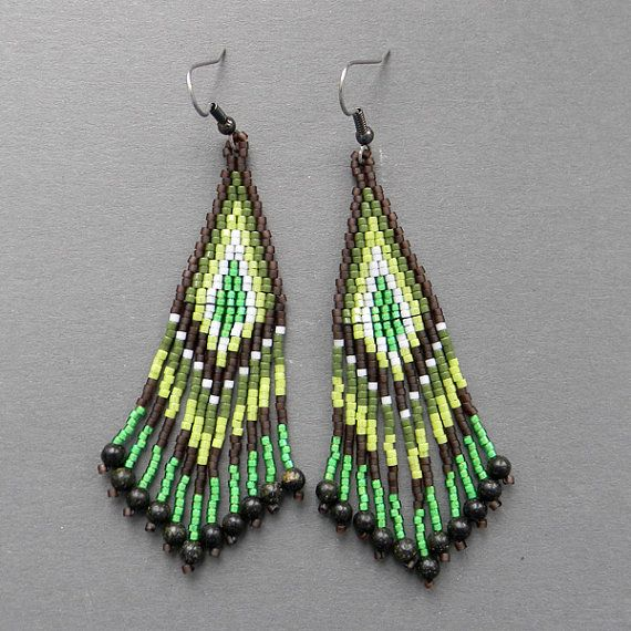 Long Brown and Green Seed Bead Earrings  beaded by Anabel27shop,