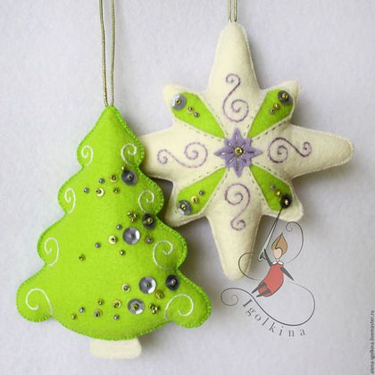 I love these bright green felt ornaments!