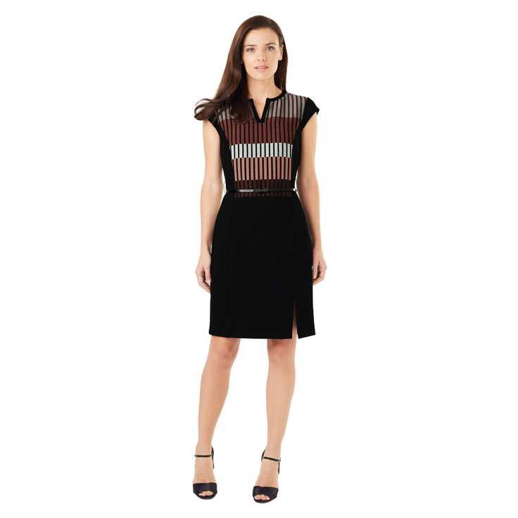 Perfect for work or smart weekend style, this fitted ponte dress has a colour block stripe design on the bodice, cap sleeves and a V-notch neckline. It fastens with an exposed back zip and comes with a skinny belt for added waist definition.