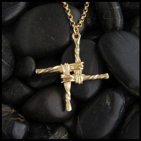 14K Gold St Brigid Cross Pendant