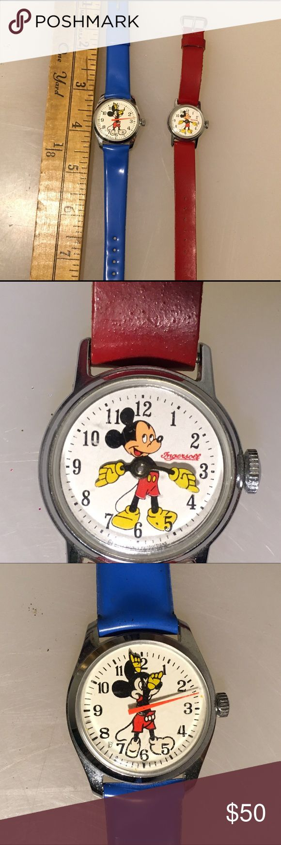 Vintage Mickey Mouse Watches One red banded Ingersoll and on blue vinyl banded Mickey watches. Neither working and may just need battery. Vintage Accessories Watches