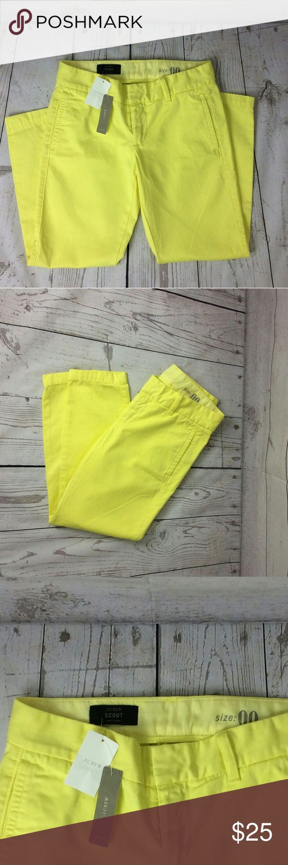 NWT{J. Crew} Neon Yellow scout crop pants Cropped neon yellow pants by J. Crew. Brand new. Size 00. Fun color J. Crew Pants Ankle & Cropped