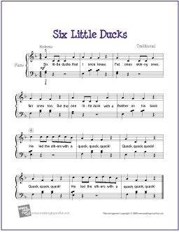 Six Little Ducks Free Nursery Rhyme Sheet Music For Easy Piano Http