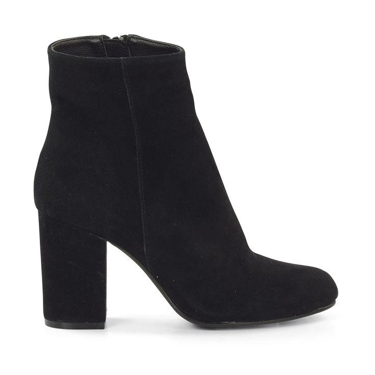 Suede zwarte laarzen met blokhak
