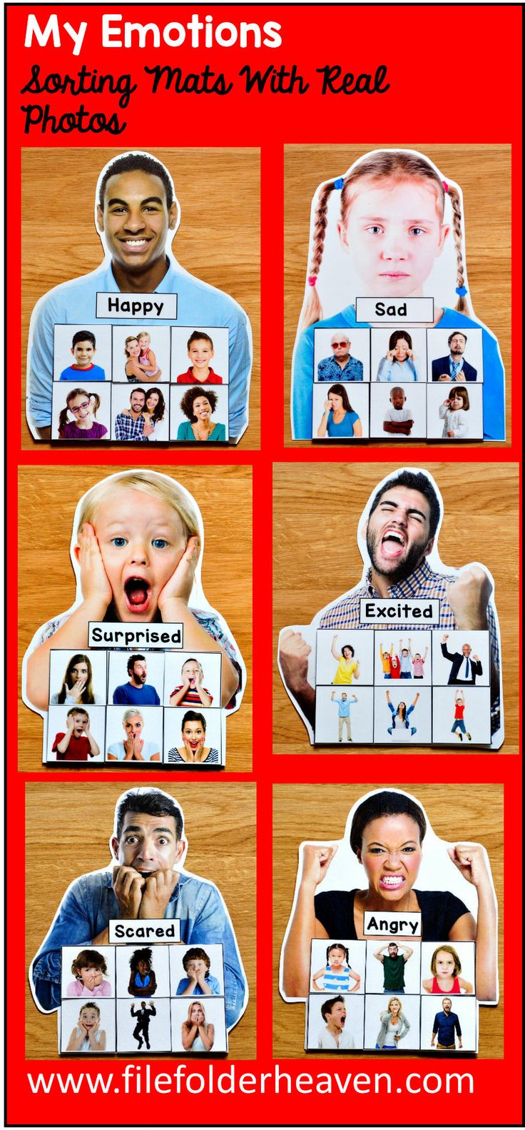 These Identifying Emotions Activities: Sorting Emotions With Real Photos include 6 unique sorting mats that focus on identifying emotions. Photos include men, women, children, and people from many cultures. (Please see preview photos for details.) At an independent workstation, center or language group, students complete the following sorting and classification activities. Sorting Happy Sorting Sad Sorting Angry Sorting Excited Sorting Surprised Sorting Scared