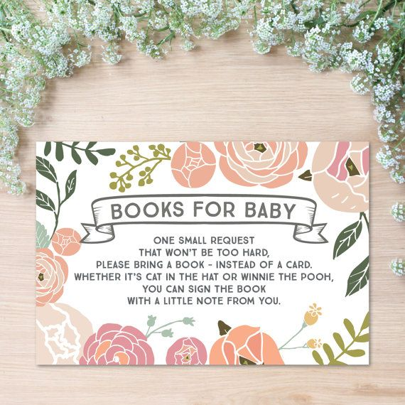 In Lieu Of A Card Bring A Book Baby Shower Part - 19: Book Request - Vintage Rose Baby Shower Book Request - Print At Home -  Instead Of A Card - Books For Baby - Baby Shower DIY - Print At Home