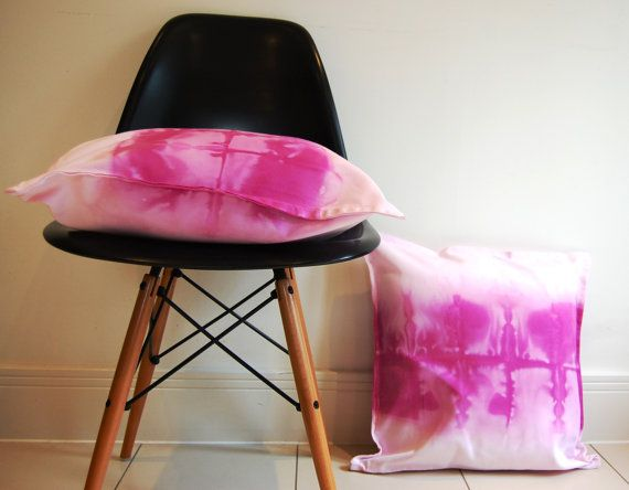 Magenta pink dip dyed watercolour square cushion by NobleAndIron