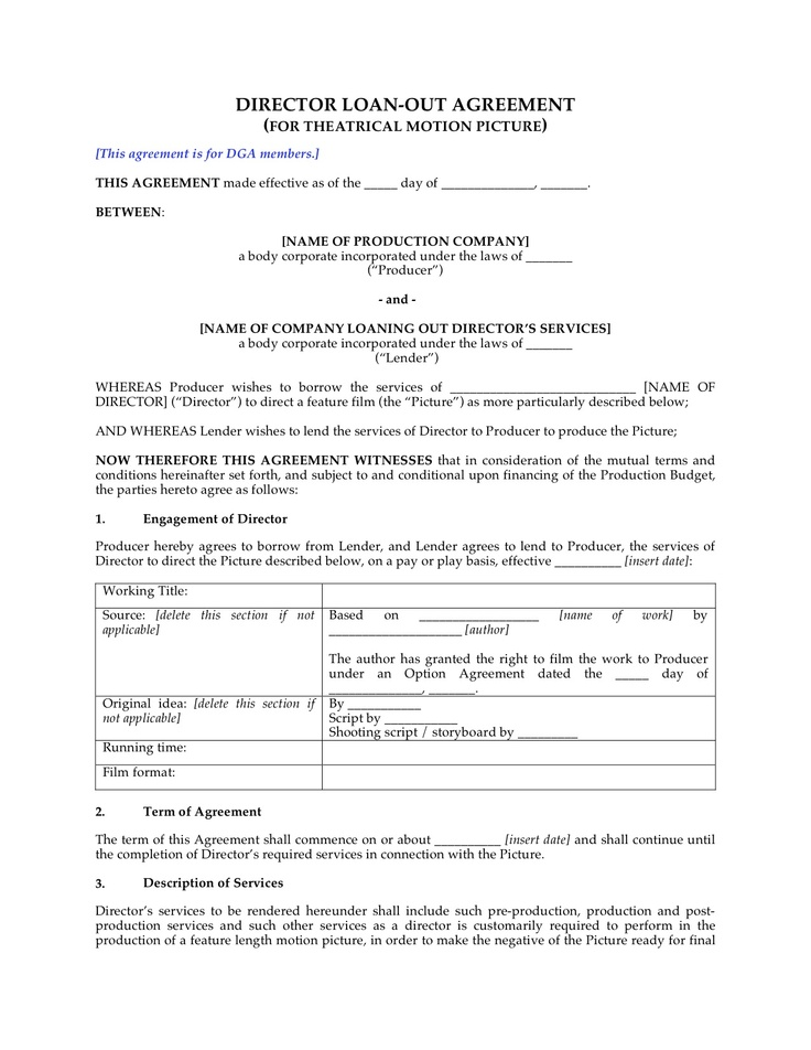 Director Employment Agreement This is a non-union contract but - individual employment agreement