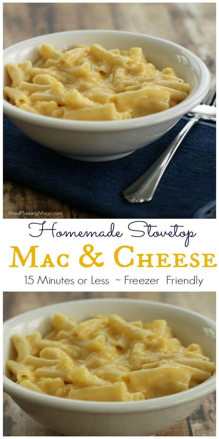 Make this Homemade Stovetop Mac and Cheese in 15 minutes or less (for real!). The sauce is freezer friendly too!   Recipe at MealPlanningMagic.com