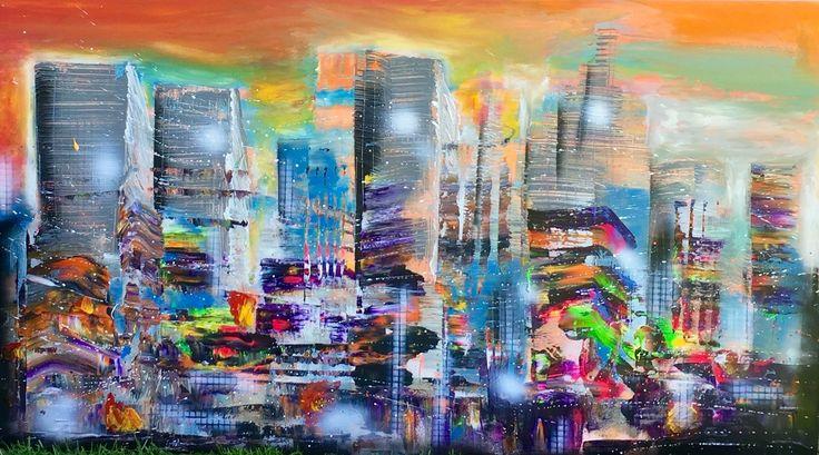"""""""New York state of mind"""" 80 x 140 cm    31"""" x 55"""" One piece full of color explosions! Do you feel summer already? #zwezerijnen #zwierigfiguratief #art #picoftheday #nyc #bigapple #artfairnyc #artbasel #skyline   www.erikzwezerijnen.com"""