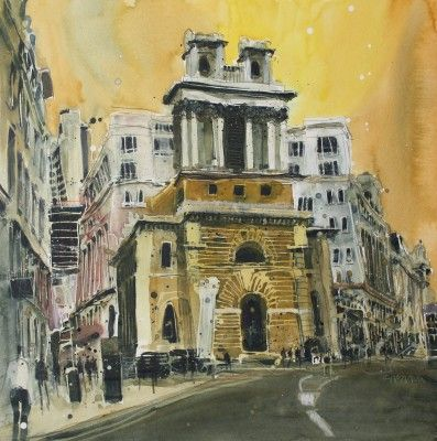 British Artist Susan BROWN - St Mary Woolnath, The City, London