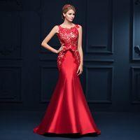 Chegada nova Sedutor Laço Vermelho Da Sereia Vestido de Noite Longo Vestidos Formais Lace Up robe de soiree 2017