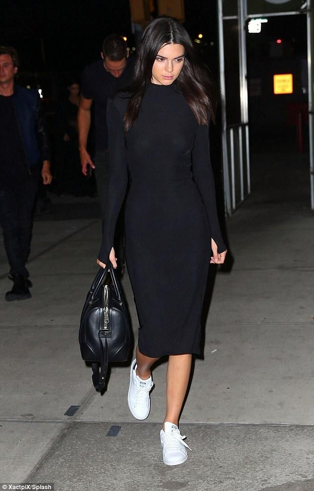 Kendall Jenner wearing Givenchy Lucrezia Bag and Adidas Originals Stan Smith Shoes in Running White
