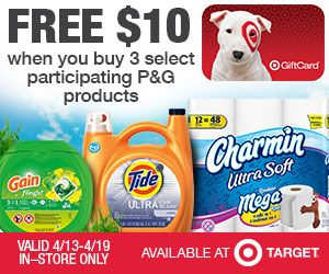 $10 off $50 coupon plus mobile text code, P&G Deal #Target Deal 4/13-4/19