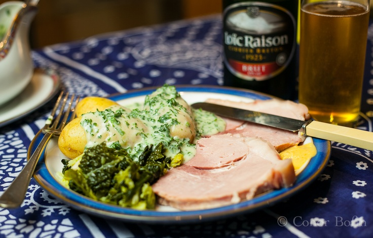 I had a long chat with my Mam   about cooking some Limerick ham.    With sauce, cabbage and potato    and mustard 'twould be great to    bring raging hunger to calm.