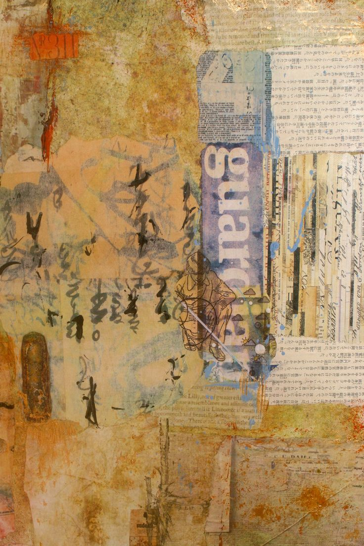 """Ifigenia Sofia """"Guardian Angel"""" (detail)  Mixed media collage, acrylic, photo transfer and paper on canvas, 60x40 cm"""
