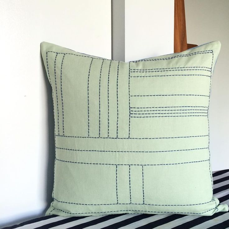 Handmade Mint Green Linen Pillow with Royal Blue Sashiko Thread Hand-Stitching.