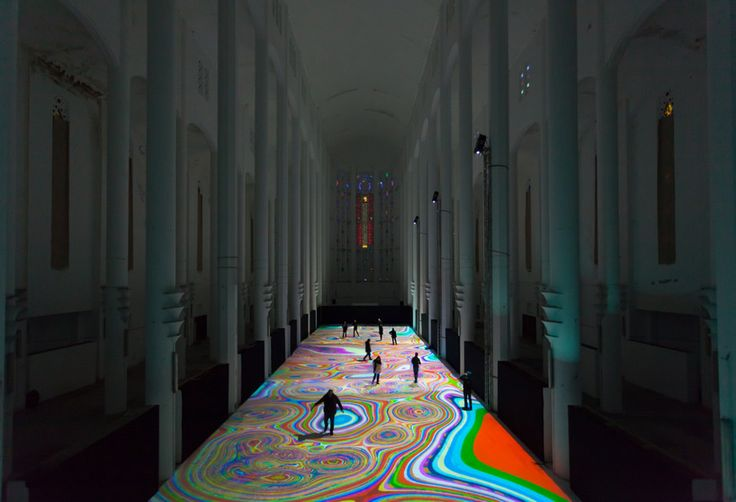 "Interactive Light Display Turns Floor Of Moroccan Church Into ""Magic Carpets"" 