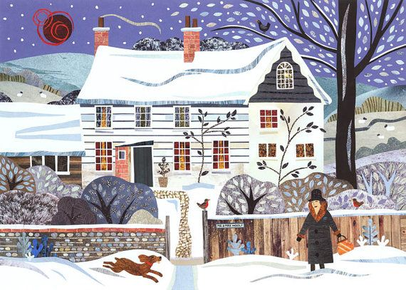 Virginia Woolf - Christmas Card - Holiday - Naive Art - Traditional Snow Scene - Writer's House - Literary Lives - Dog - Sussex - England