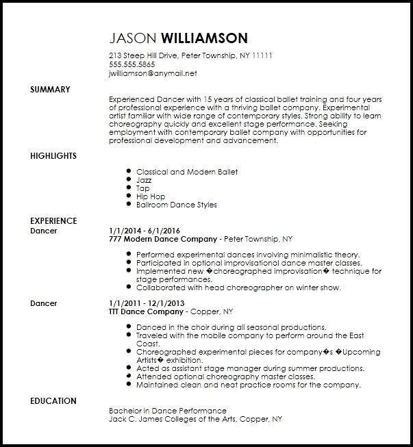 Free Contemporary Dancer Resume Template Resume Now Resume Template Modern Resume Template Professional Resume Examples