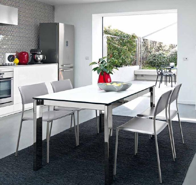 Conjunto de mesa cristal blanca con 4 sillas cod 2029 for Mesa y sillas blancas