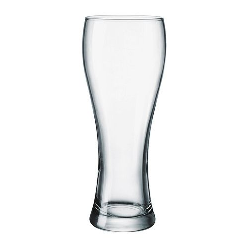 IKEA - OANVÄND, Beer glass, The glass is ideal for wheat beer and brings out its aroma. The glass has a tapered shape which gives a good head of foam, and the generous size helps the beer's aromas and flavors to develop better, enhancing your experience of the drink.