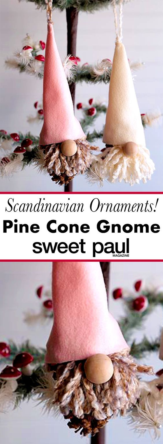 These Nordic-inspired gnomes are so easy to make! They are built around a festive pine cone!