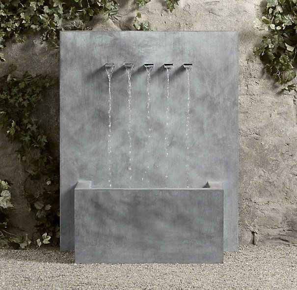 Weathered Zinc Wall Fountain - 5-Spout $2295 Special $2065 Inspired by a Belgian design, our fountain displays pure, spare lines and makes an understated focal point in the garden. It's handcrafted of steel and swathed in weathered zinc for a rustproof finish with timeworn appeal. Steel is hot-dipped in zinc for a rustproof finish