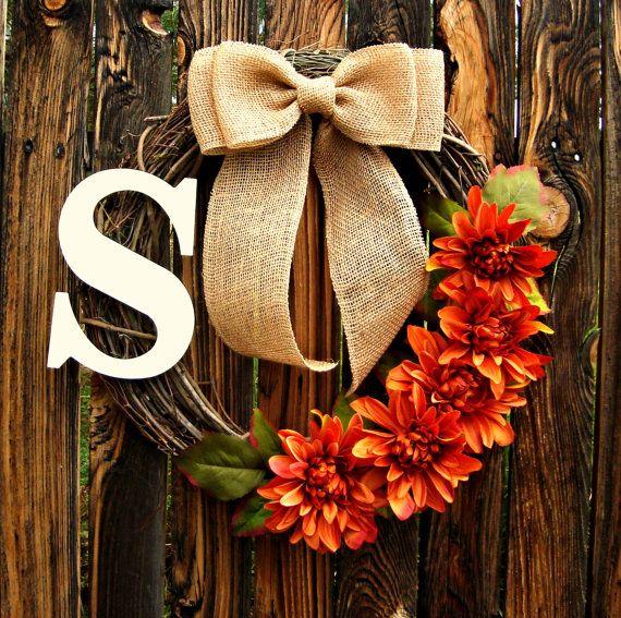 Autumn Orange Flower Wreath with Monogram - Initial Wreath - Grapevine Wreath - Fall Wreath - Personalized Wreath - Thanksgiving Wreath on Etsy, $43.00