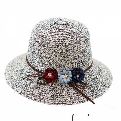 Three flowers straw hat for beach vacation UV womens sun hats